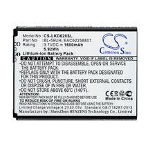 Аккумуляторная батарея для LG CS-LKD620SL G2 Mini D618 3.7V White 1600mAh 5.92Wh